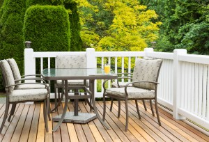 Composite railing surrounding a cedar deck