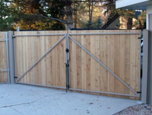 wooden gates metal hardware