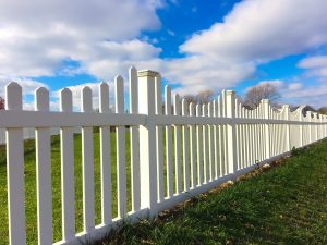 Modern White picket fence made from vinyl
