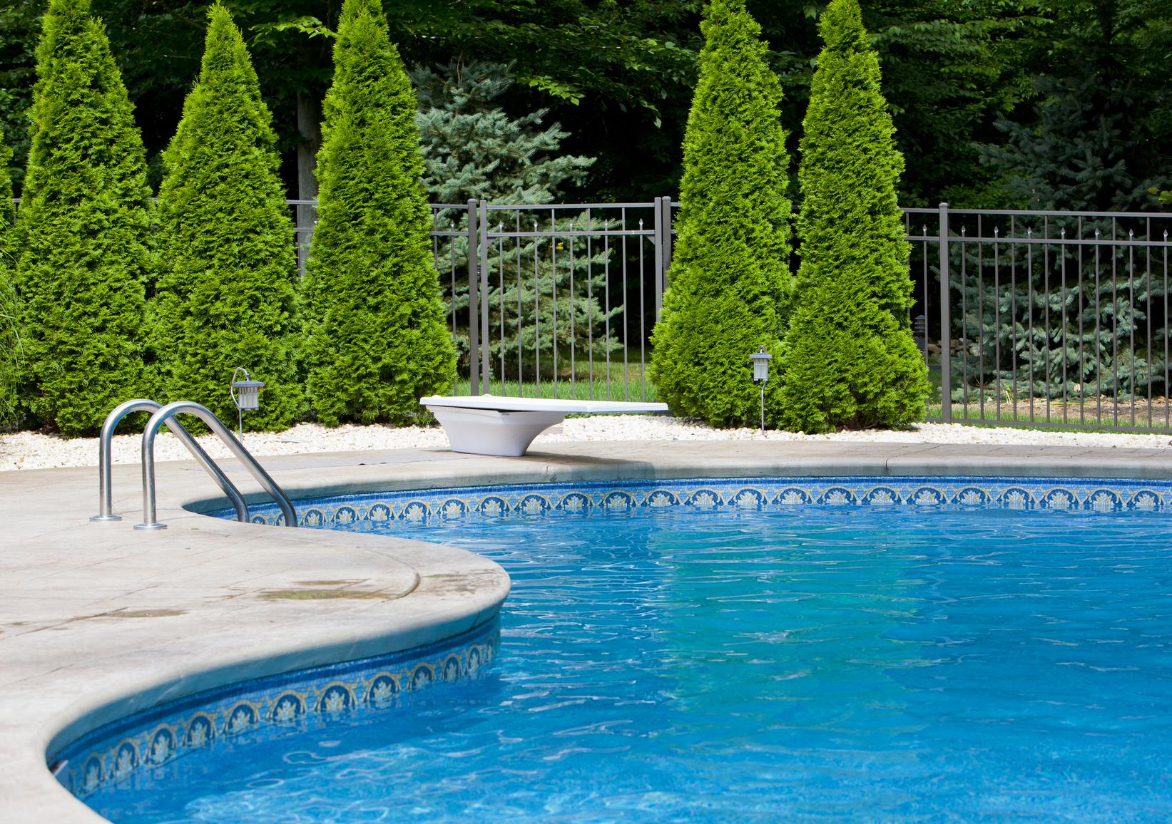fenced swimming pool